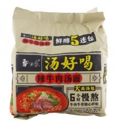 白象汤好喝*辣牛汤汤面5连包 Spicy Beef Noodle Soup 450G (5 packs)