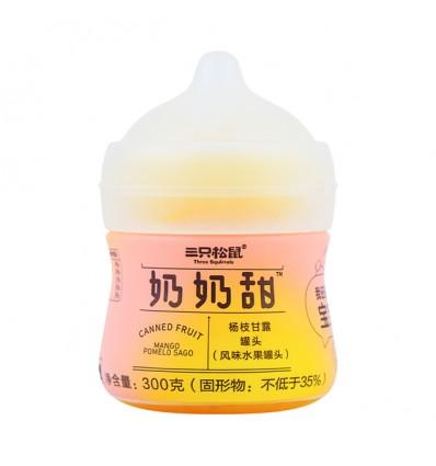 (蓝瓶)三只松鼠*奶奶甜*酸奶黄桃西米露 300g szss snacks